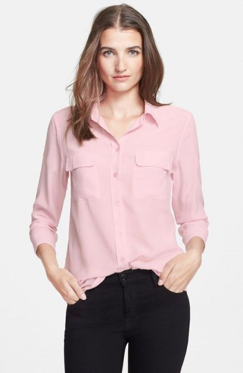 20f500d5598cb9 Equipment Women s Slim Signature Silk Shirt Cool Pink