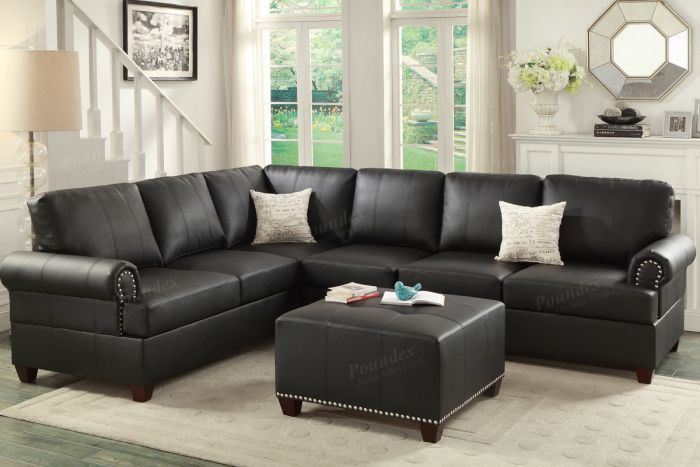 Poundex Winchester F7769 Traditional Black Bonded Leather Sectional Leather Sofa And Loveseat Contemporary Leather Sectional Sectional Sofa