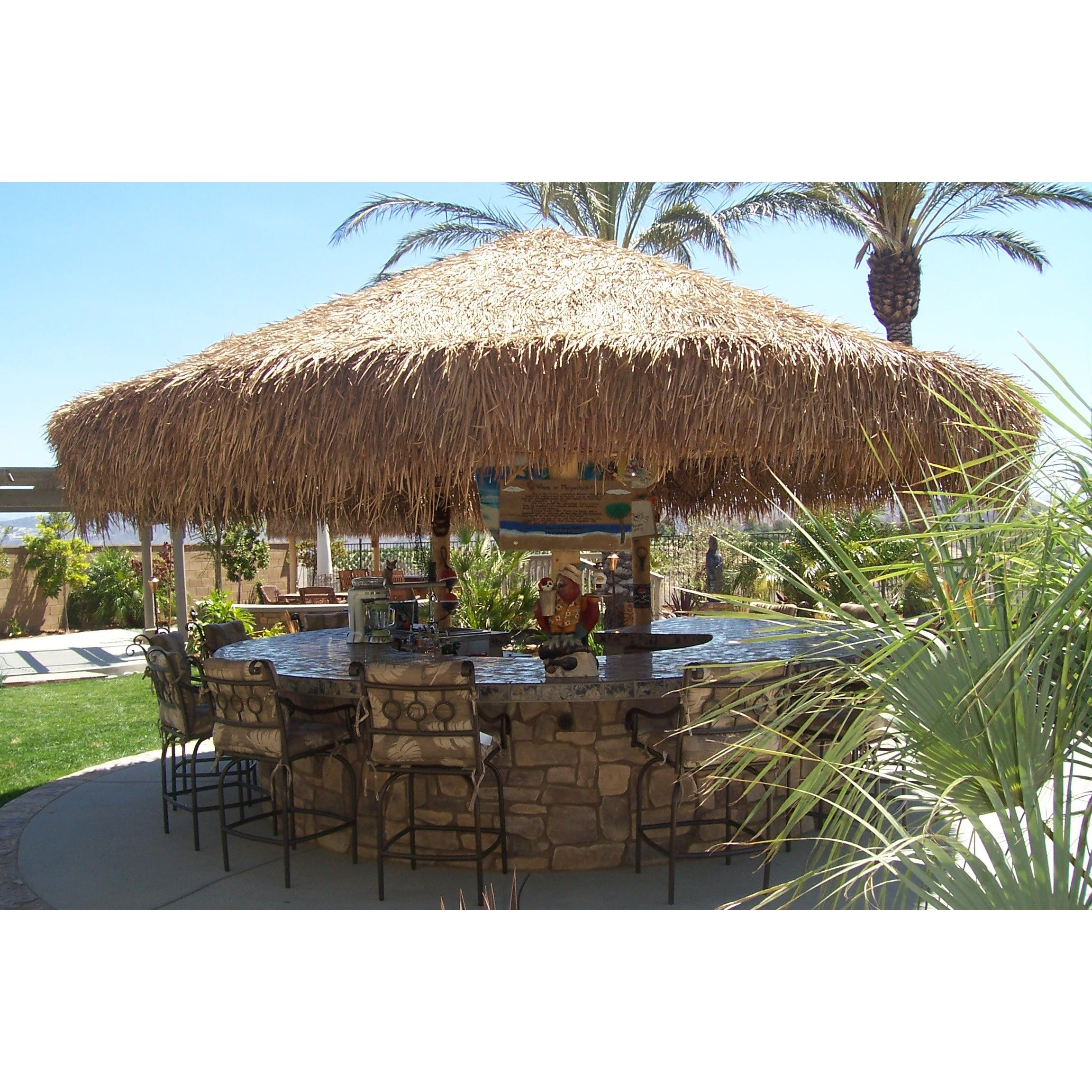 Outdoor Kitchen With Thatched Gazebo Outdoor In 2019: Mexican Palm Thatch Umbrella Cover 14'