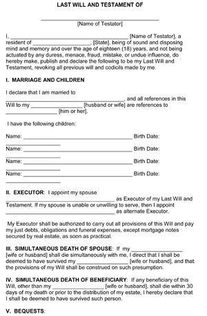 Last Will And Testament Template  Free Printable Form  Ws