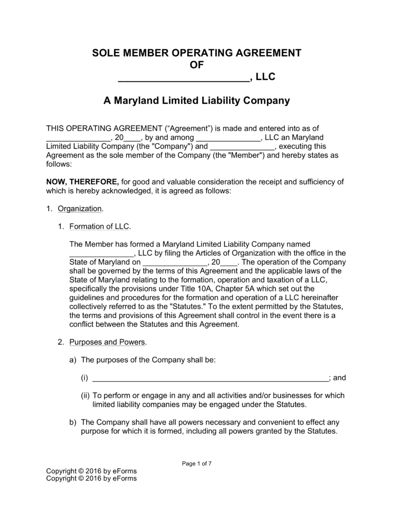 Maryland Single Member Llc Operating Agreement Form Eforms Free