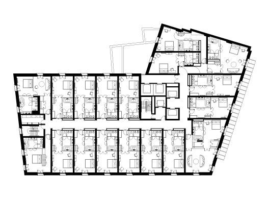 Typical hotel floor plans google search hotel plan for Hotel design layout