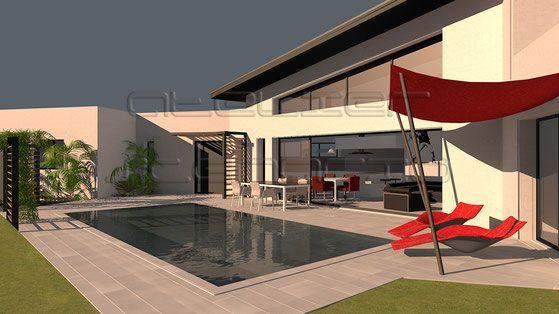 maison contemporaine toit zinc et fenêtre trapèze Design extérieur