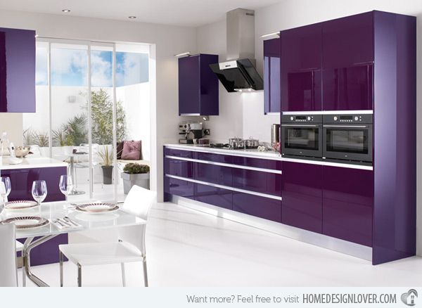 15 High Gloss Kitchen Designs In Bold Color Choices Home Design Lover Modern Kitchen Colours Purple Kitchen Cabinets Purple Kitchen Decor