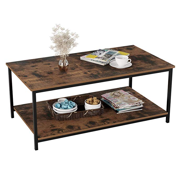 Amazon Com Homfa Industrial Coffee Table For Living Room 2 Tier