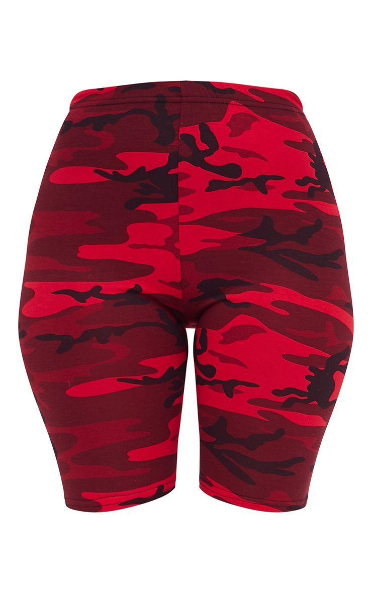 Red Camo Print Bike Shorts Shorts PrettyLittleThing