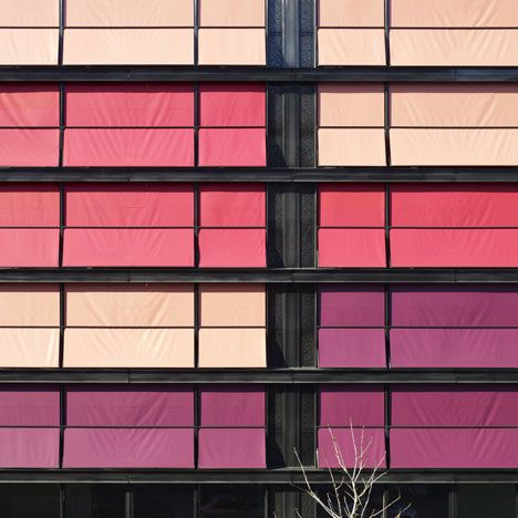 coral house residential block covered in pink sun screens in geneva rh pinterest com