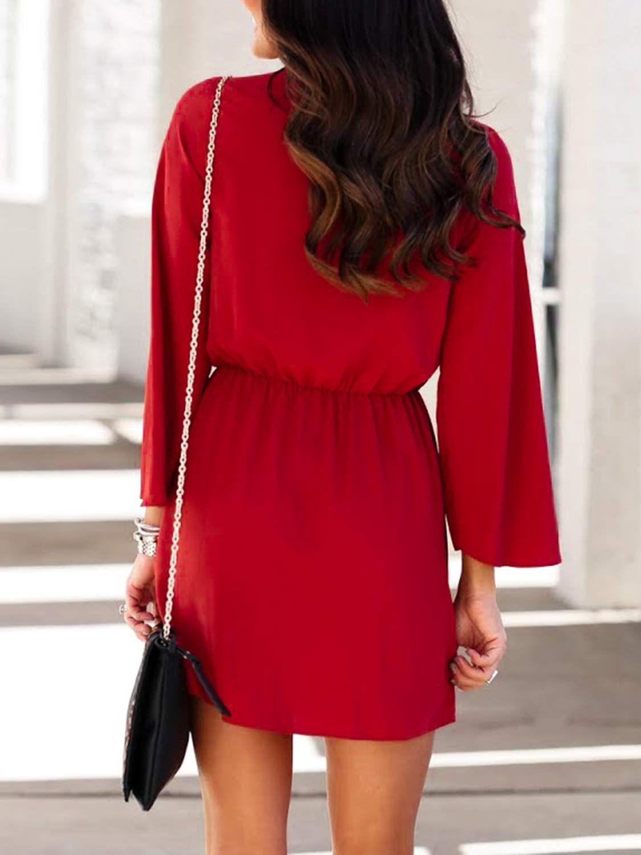 Miessial Women S Long Sleeve Chiffon Mini Dress V Neck Tie Waist Shirt Dress Chiffon Mini Dress Flare Sleeve Dress Chiffon Long Sleeve [ 1500 x 1125 Pixel ]