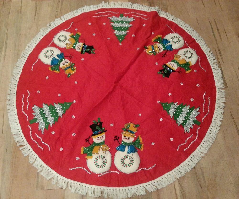 Felt Christmas Tree Skirt Snowman VINTAGE frosty holiday