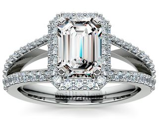 Emerald Halo Split Shank Diamond Engagement Ring in Platinum http://www.brilliance.com/engagement-rings/halo-split-shank-diamond-ring-platinum