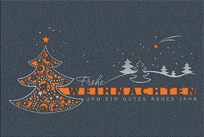 weihnachtskarte mit weihnachtsbaum in grau orange und. Black Bedroom Furniture Sets. Home Design Ideas