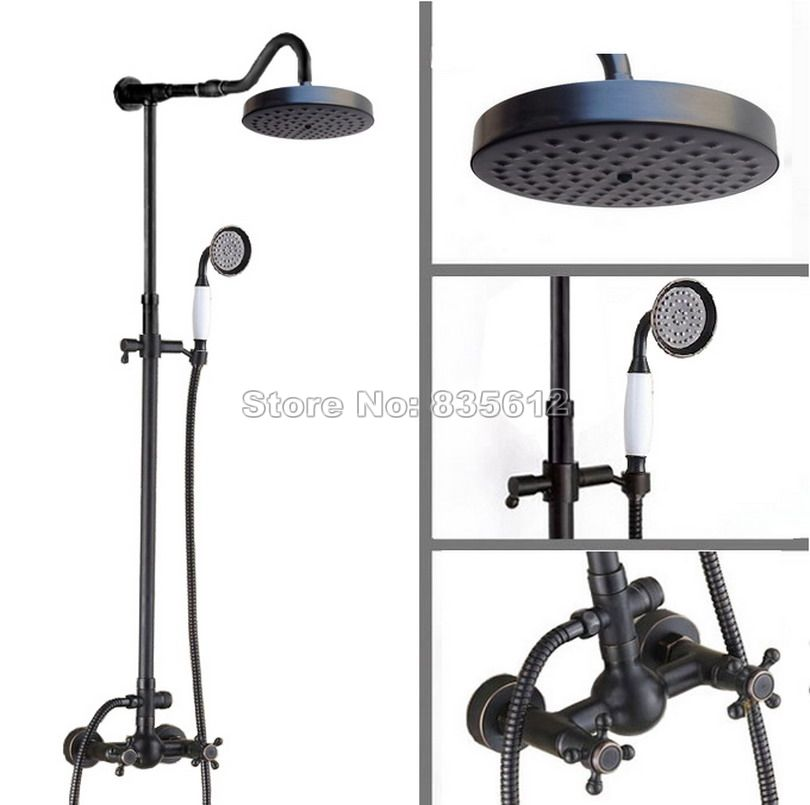 Black Oil Rubbed Bronze Rain Shower Faucet Set Wall Mounted with ...