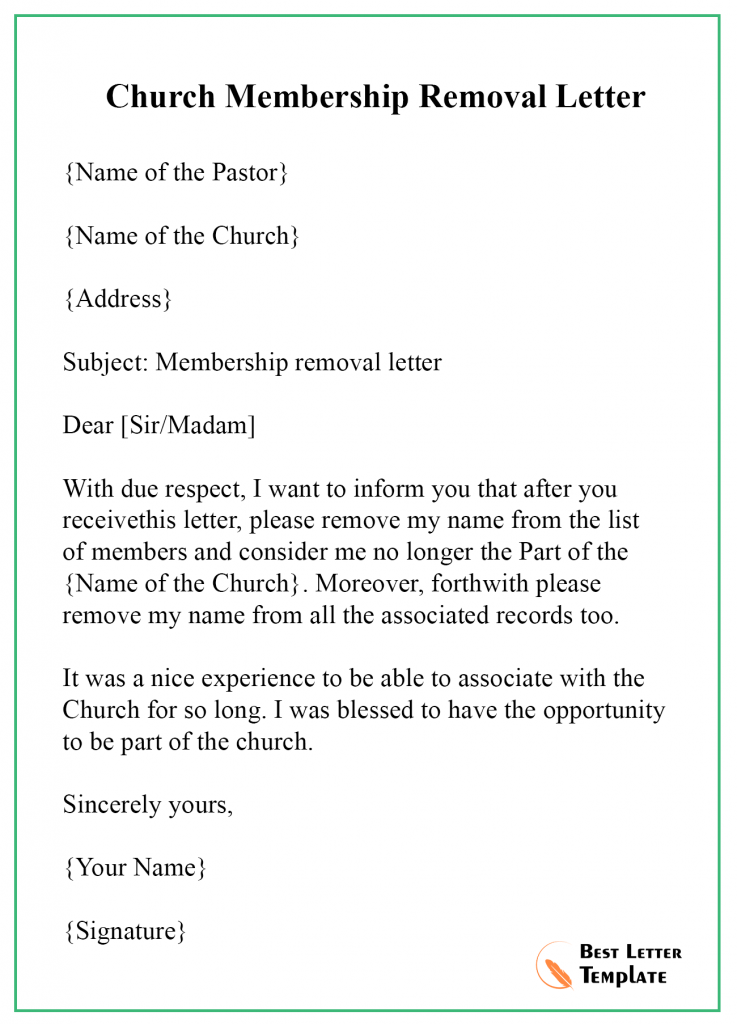 Membership Cancellation Letter Template Format Sample