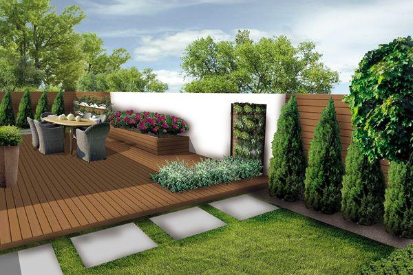 waski ogrod styl nowoczesny przedluzony taras garten. Black Bedroom Furniture Sets. Home Design Ideas