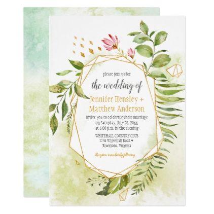 Botanical Pink Green Gold Geometric Frame Wedding Invitation