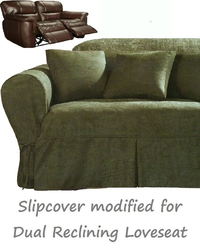 Dual Reclining Loveseat Slipcover Heavy Suede Forest Green