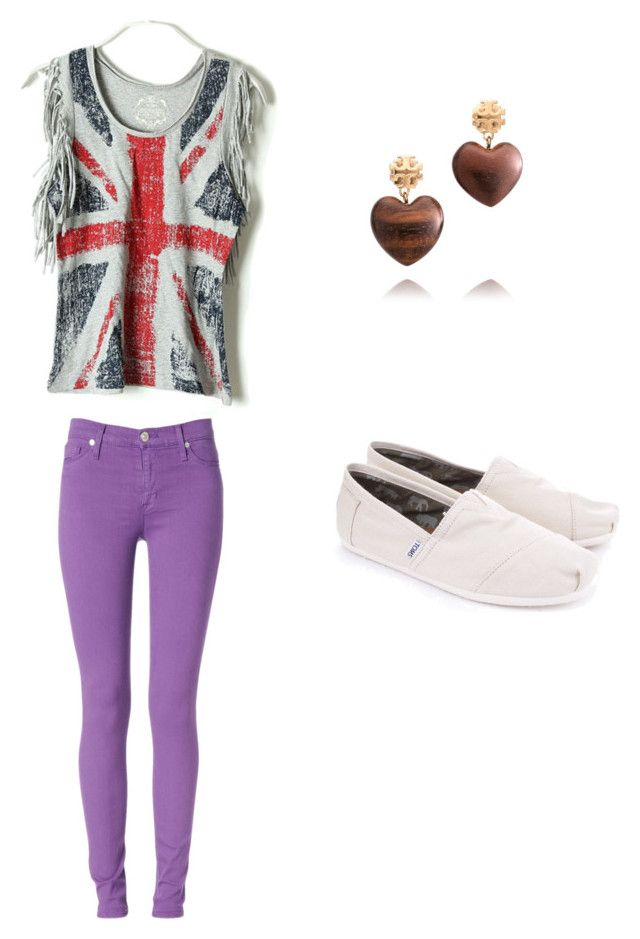 """""""United Kingdom shirt, purple pants, toms, and heart earrings"""" by katherine-sviridenkova ❤ liked on Polyvore featuring Hudson Jeans, Tory Burch and TOMS"""