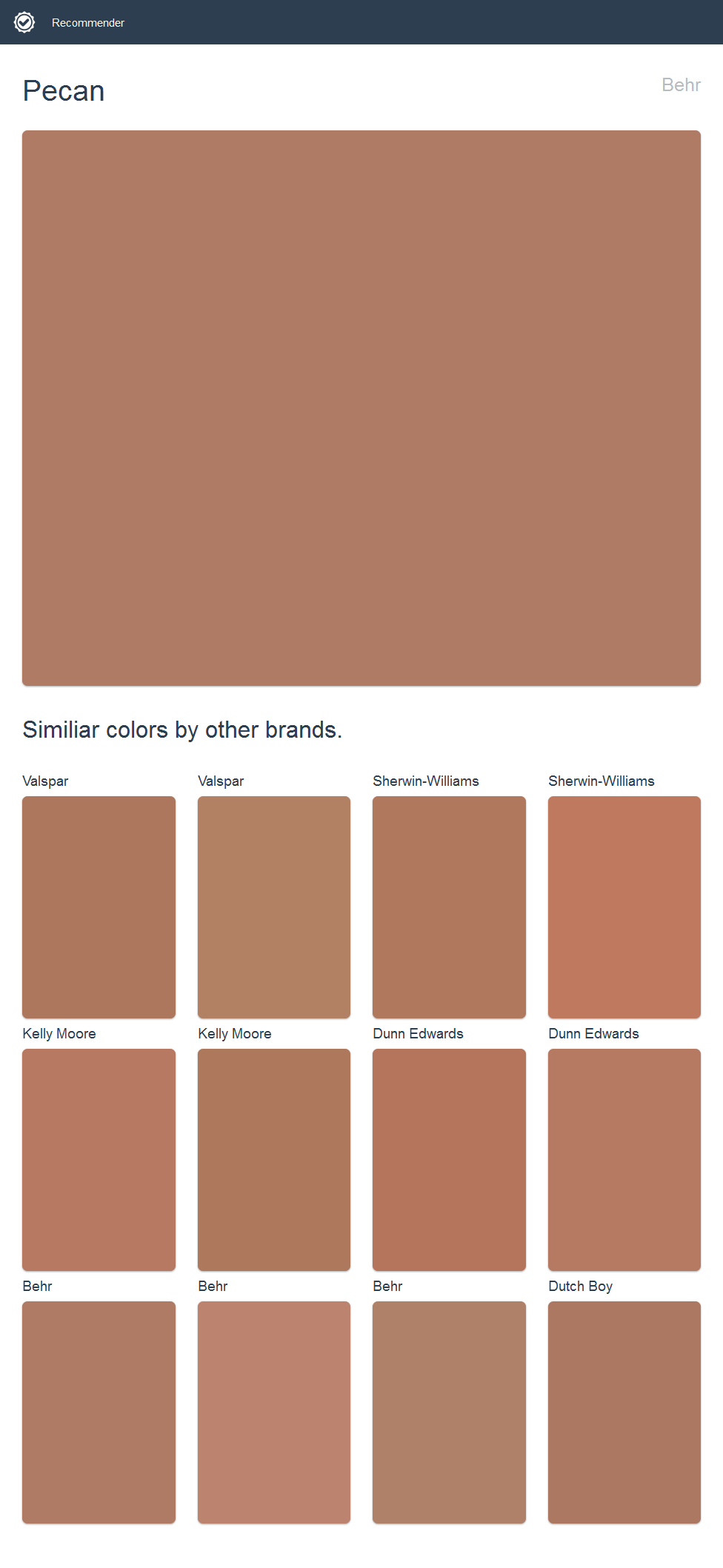 Pecan, Behr. Click the image to see similiar colors by other brands.