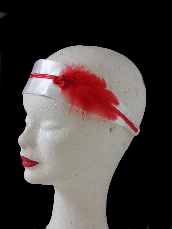 Bandeau mariage en soie et plumes rouges : Accessoires coiffure par faith-cauvain