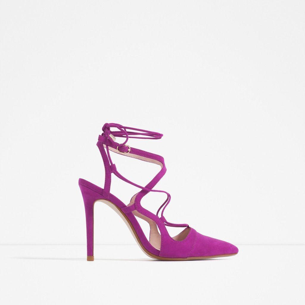 174737f2158 Nwt Zara - Fuchsia Strappy Heels