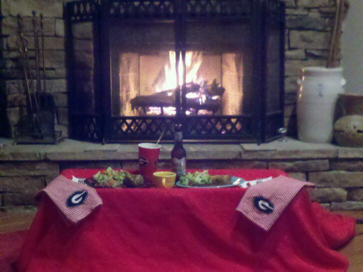 Need a romantic dinner without the cost?  We didn't want to go out for Valentine's Day... Red table cloth, radio flyer, canned veggies, and steak dinner in front of the fireplace... total cost for a dinner for two with left overs $10.00