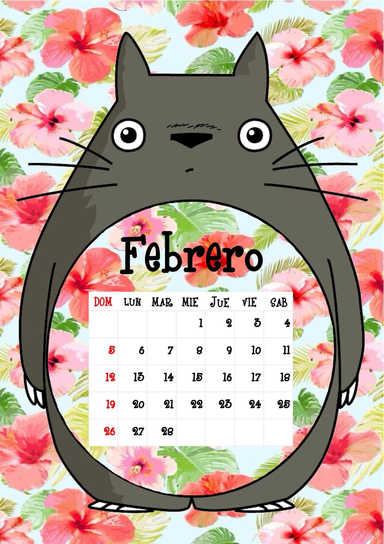 Calendario totoro 2017 febrero 2017 calendarios for Fondo de pantalla calendario 2018