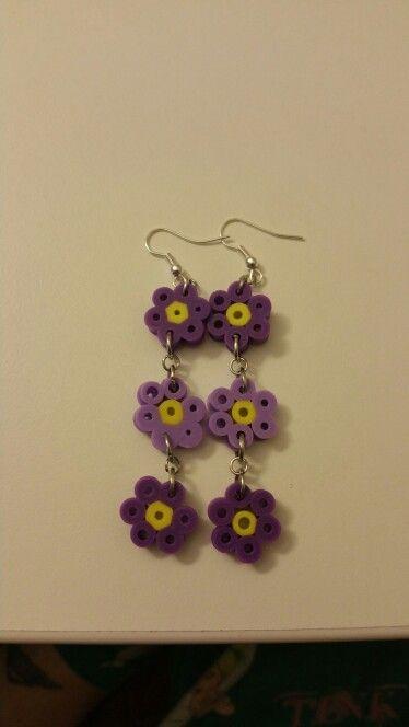 Perler flower earrings