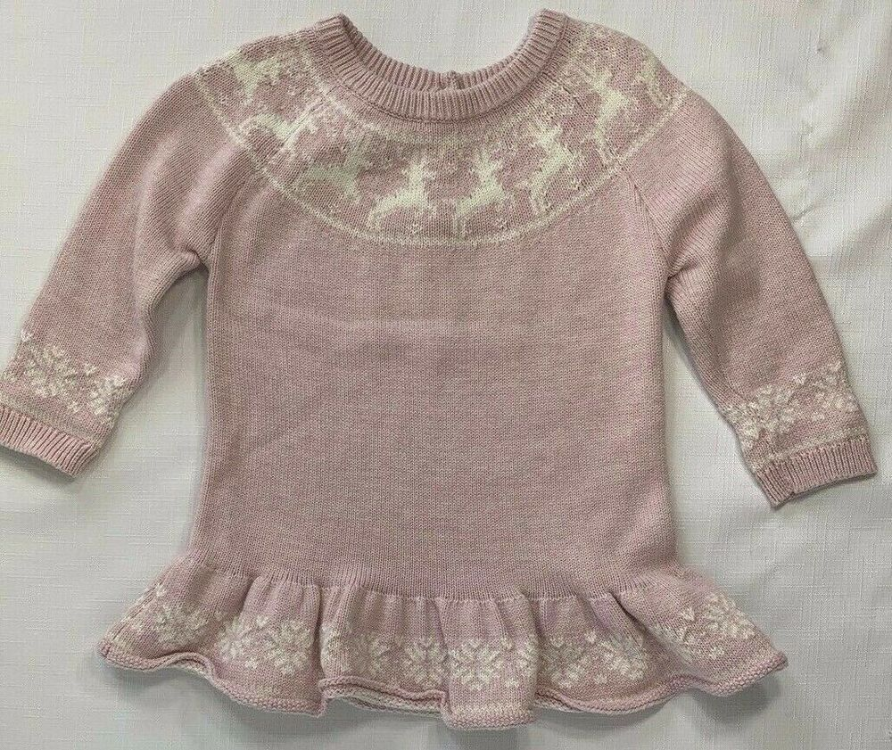 Baby Gap Girls 18-24 Months Pink /& Gray Striped Sweater Romper Nwt