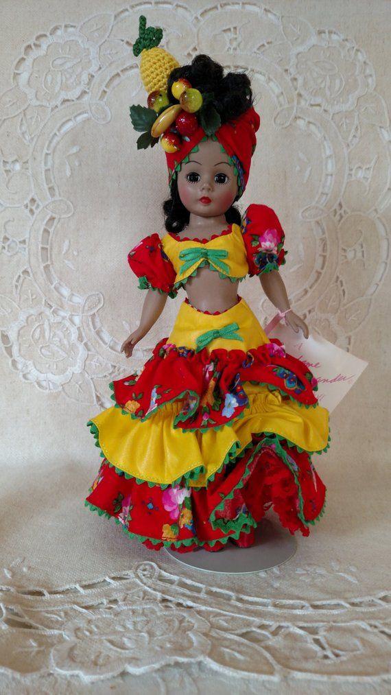 Madame Alexander 10 Portrettes Spanish Doll Brazilian Carmen Miranda #1154 HTF Restrung, Box & Wrist Tag, Doll Stand #spanishdolls