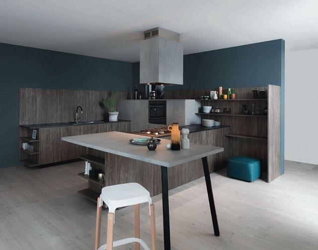 wandfarbe küche dunkel türkisblau dunkles holz sichtbeton optik - wandfarbe fr kche