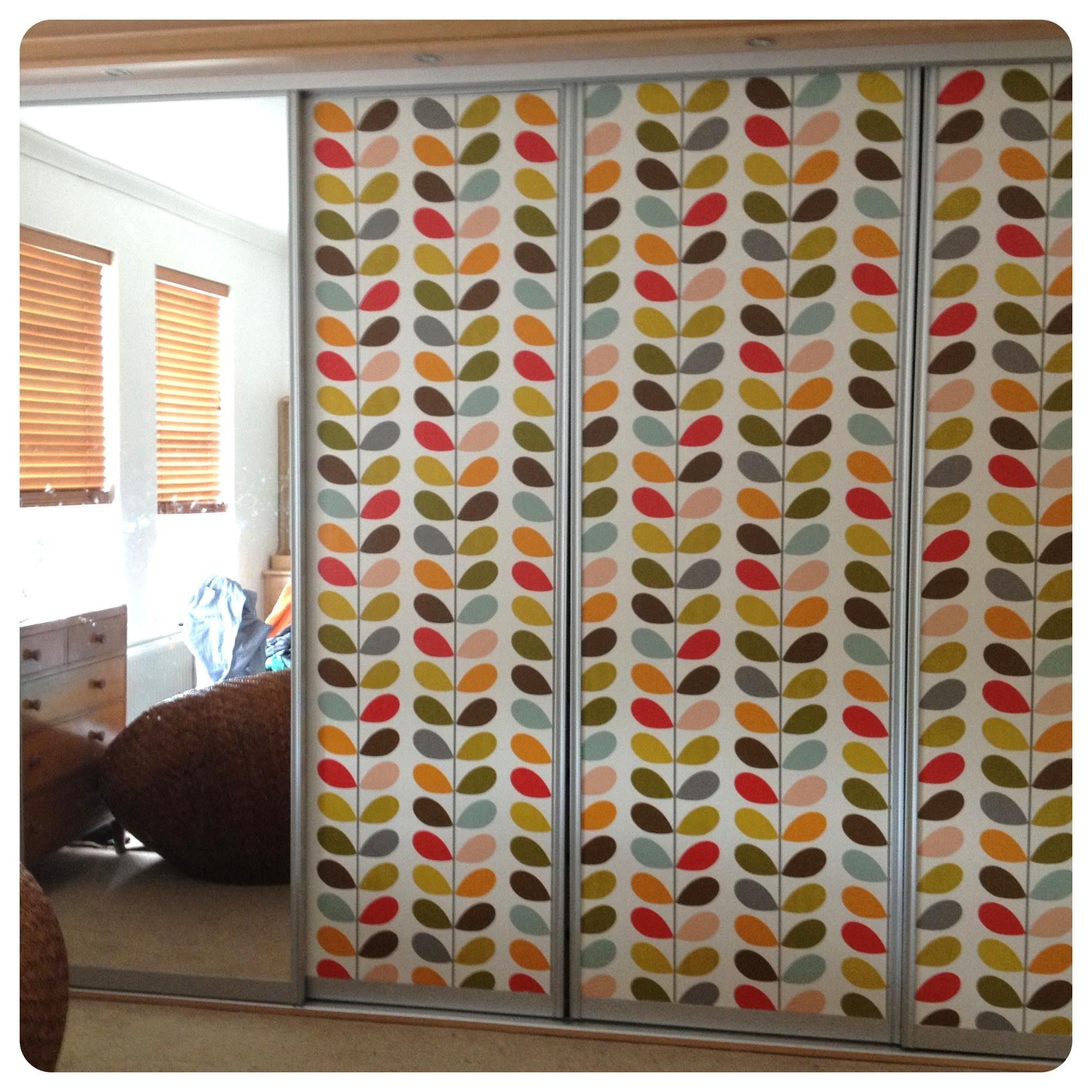Orla Kiely stem print wallpaper wardrobe makeover