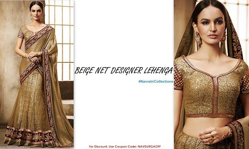 Celebrate this Navratri in grand style! Beautiful Designer Lehenga with Dhupion Blouse Shop Online: http://goo.gl/YI9ueo Use Coupon Code: NAVDURGAOFF for 10% OFF ‪#‎NavratriCollections‬ ‪#‎Lehenga‬ ‪#‎NalluCollection‬