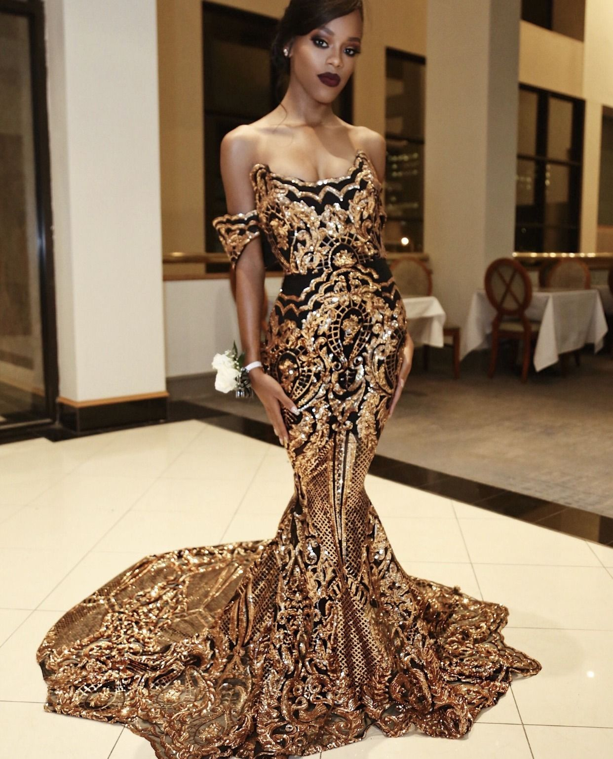 68f0f87837c5f Black and #Gold haute couture evening gown from the Darius ...