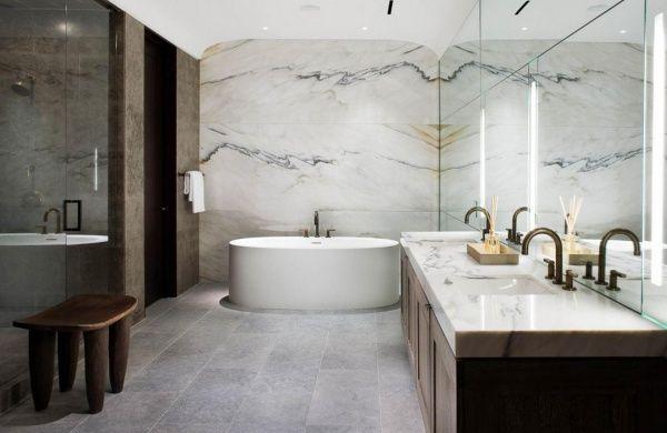 Salle de bains Marbre blanc Paonazetto Calacatta - Marbrerie de La