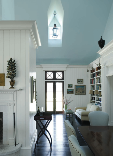 Blue ceiling and dark floors---GORGEOUS! I don't like white walls. but if  we paint the ceiling, I might decide to love the white walls!