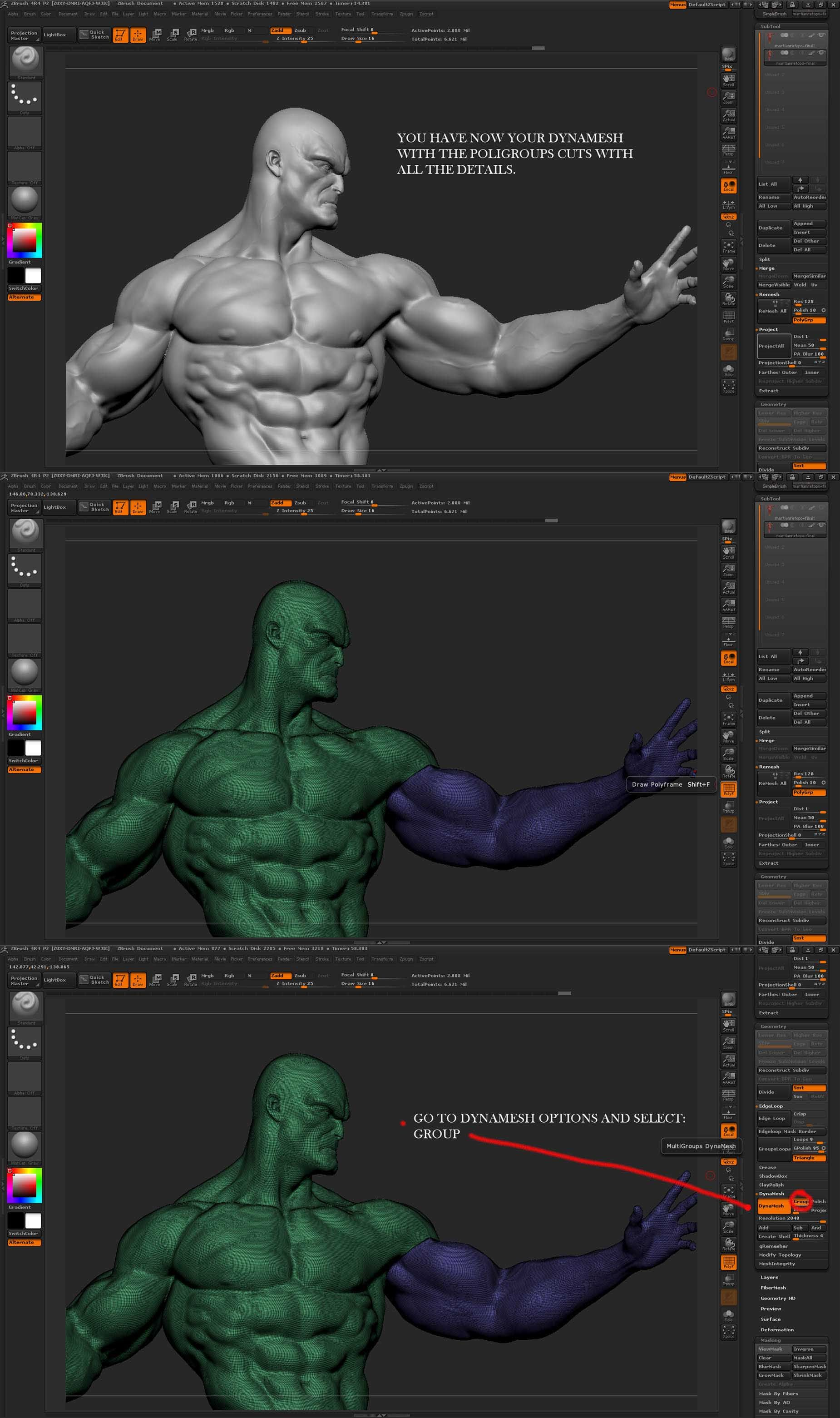 Cuts and key in zbrush 4r4 | ZBRUSH | Pinterest