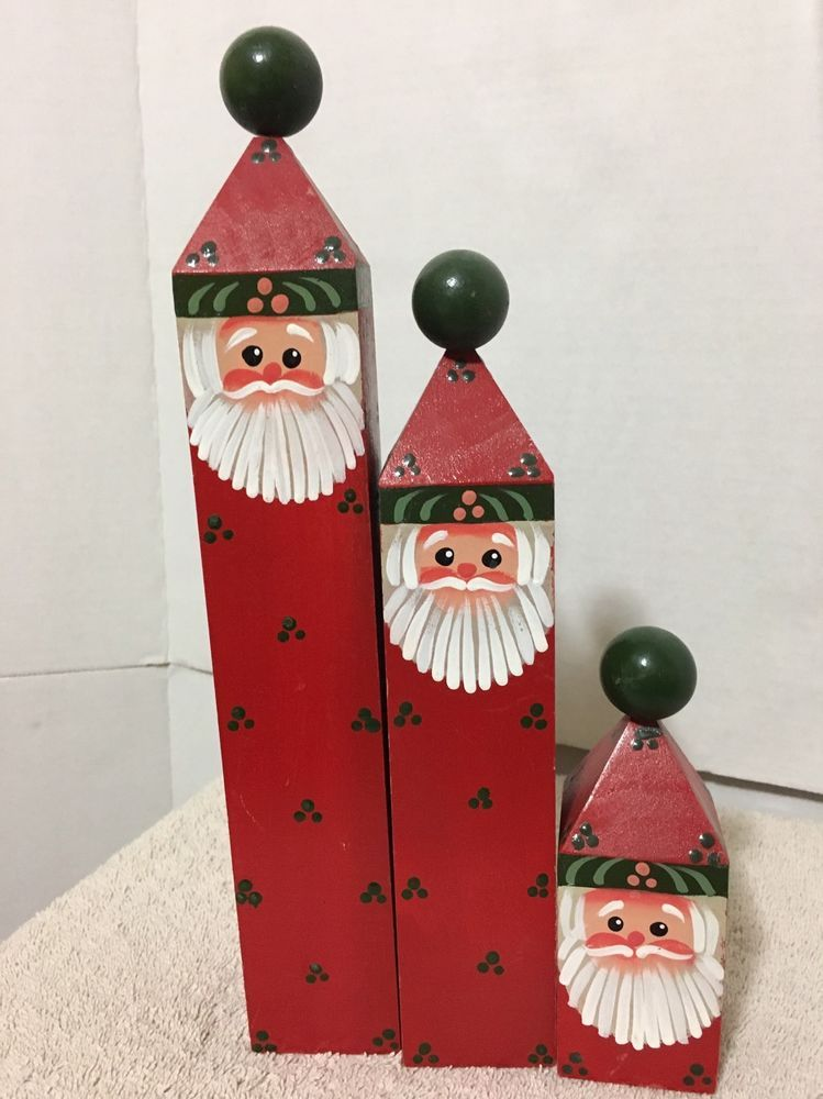 Hand Painted Wood Fence Post 3 Pc Santa Small Medium Large