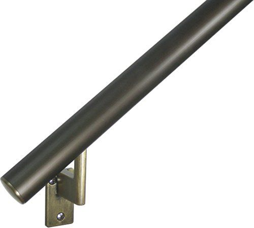 9ft Handrail Architectural Bronze Anodized Aluminum With 5 Antique Brass Wall Brackets And Endcaps 1 6 Round Co Handrail Outdoor Handrail Wall Brackets