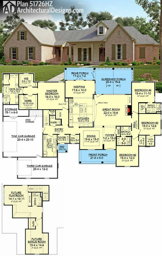 Looove The Layout Especially The Bonus Rooms And Extra Garage All We Need To Add Is A War Room Acadian House Plans Floor Plans French Country House Plans