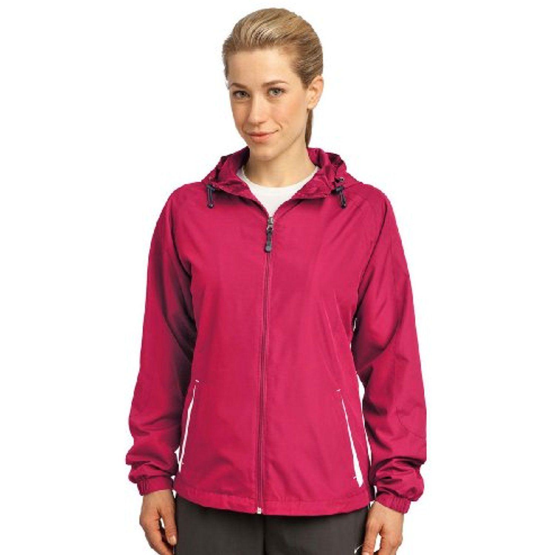 SportTek Ladies Colorblock Hooded Jacket,Medium,Pink