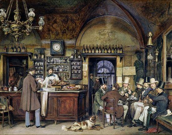 Café Greco Rome 1856 (Ludwig Passini 1832-1903)