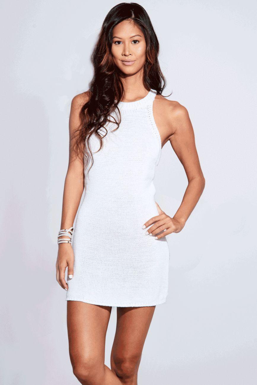 White Mini Knit Dress