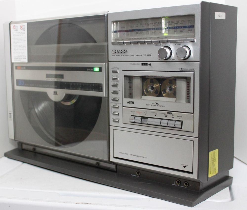 sharp vz 3000 vertical linear tracking record player turntable tuner cassette audio vintage. Black Bedroom Furniture Sets. Home Design Ideas