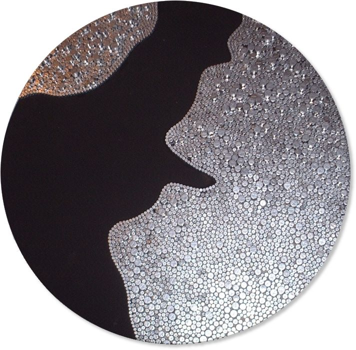 """HUGE 35"""" diameter black and silver wall sculpture with striking contrasts. This highly unusual piece would certainly add that contemporary feel to your home.  Metal wall sculpture by Jo Pilkington - LaJoJo.co.uk £510 FREE UK postage"""