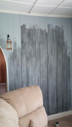 Bright Wall Paneling : Faux barnwood painting paneling base light blue and gray