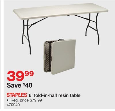 Shared From Flipp 6 Fold In Half Resin Table Staples Usa