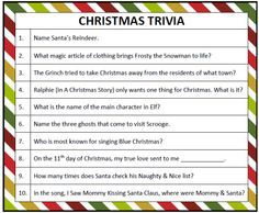 Printable Christmas Trivia Game  Christmas trivia games Trivia