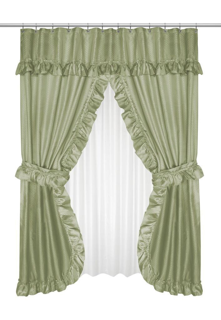 Ruffled Double Swag Shower Curtain With Valance Tie Backs Sage