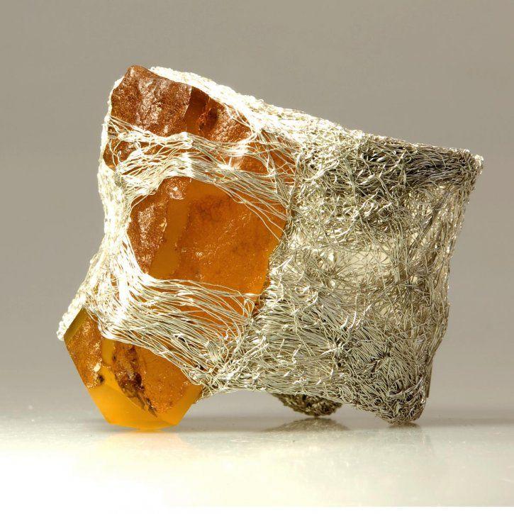Ring oder Armband Stein mit Golddtaht auf das Silber wickeln (locker ...