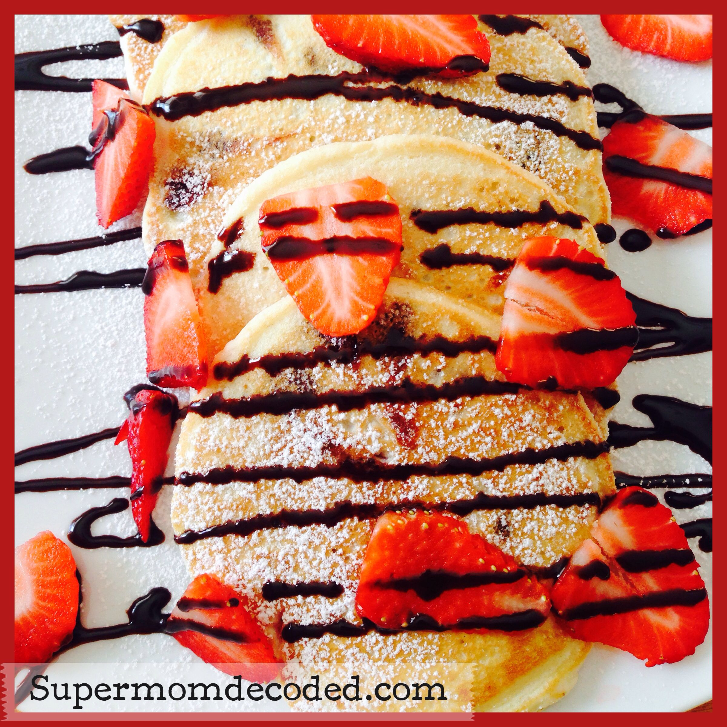 Chocolate chip strawberry pancakes. Great for Valentines Day breakfast treat.